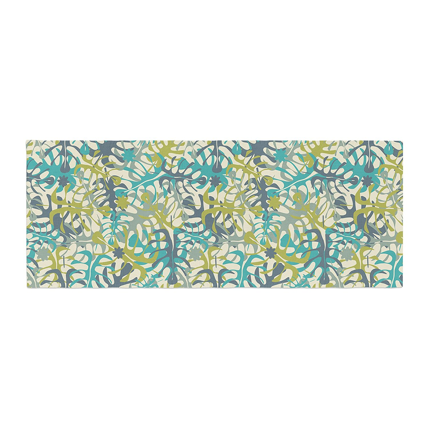 "Julia Grifol ""Tropical Leaves"" Bed Runner, 34"" x 86"", Super soft polyester By Kess InHouse Ship from US"