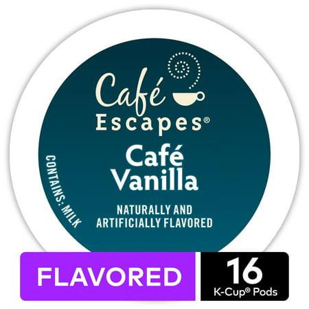 Café Escapes Café Vanilla, Keurig K-Cup Pod, Contains Milk, 16ct (Keurig Mild Coffee)