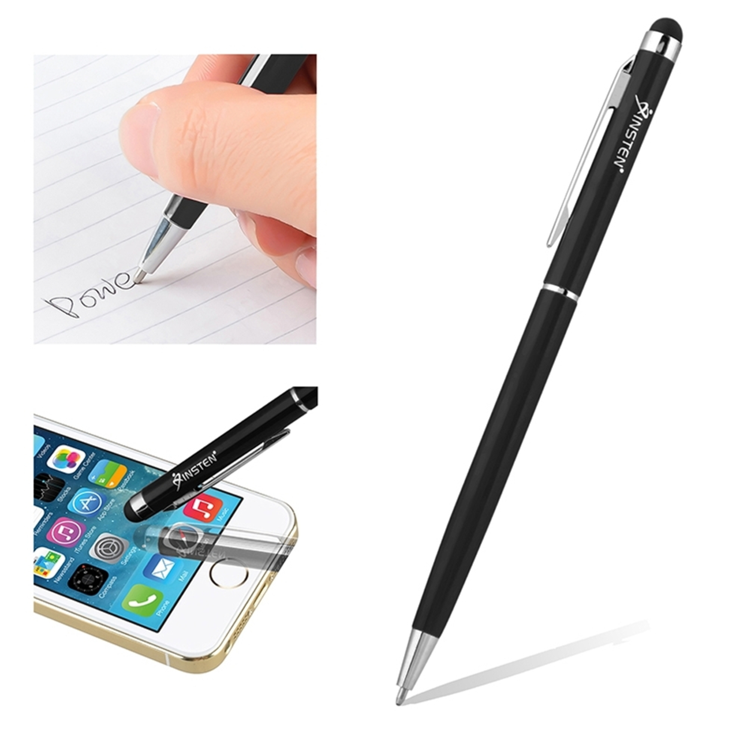 Insten Black 2-in-1 Capacitive Stylus with Ball Point Pen For Tablet Smartphone...