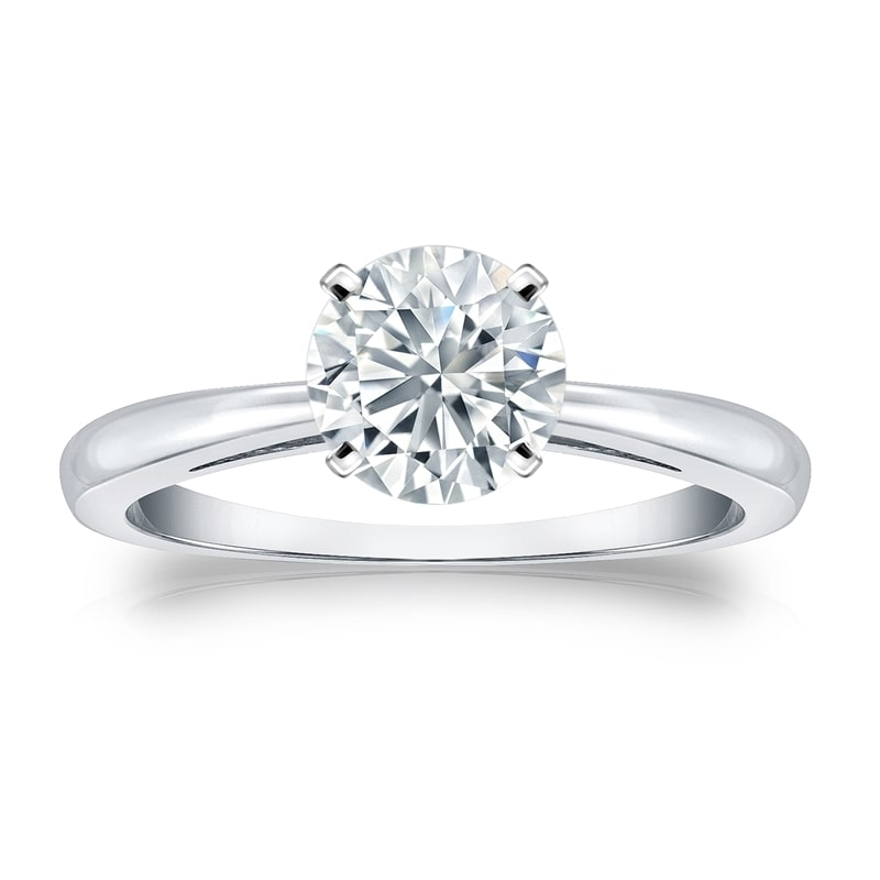 Auriya  GIA Certified Platinum 4-Prong 1 ct. TDW Round-Cut Diamond Solitaire Engagemen