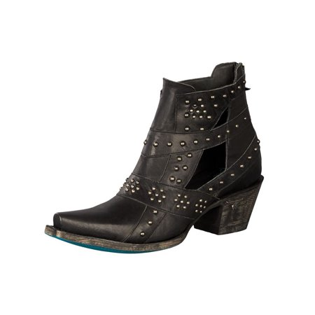 Ladies Western Black Leather Boots - Lane Western Boots Womens Studs & Straps Leather Ankle Black LB0289B