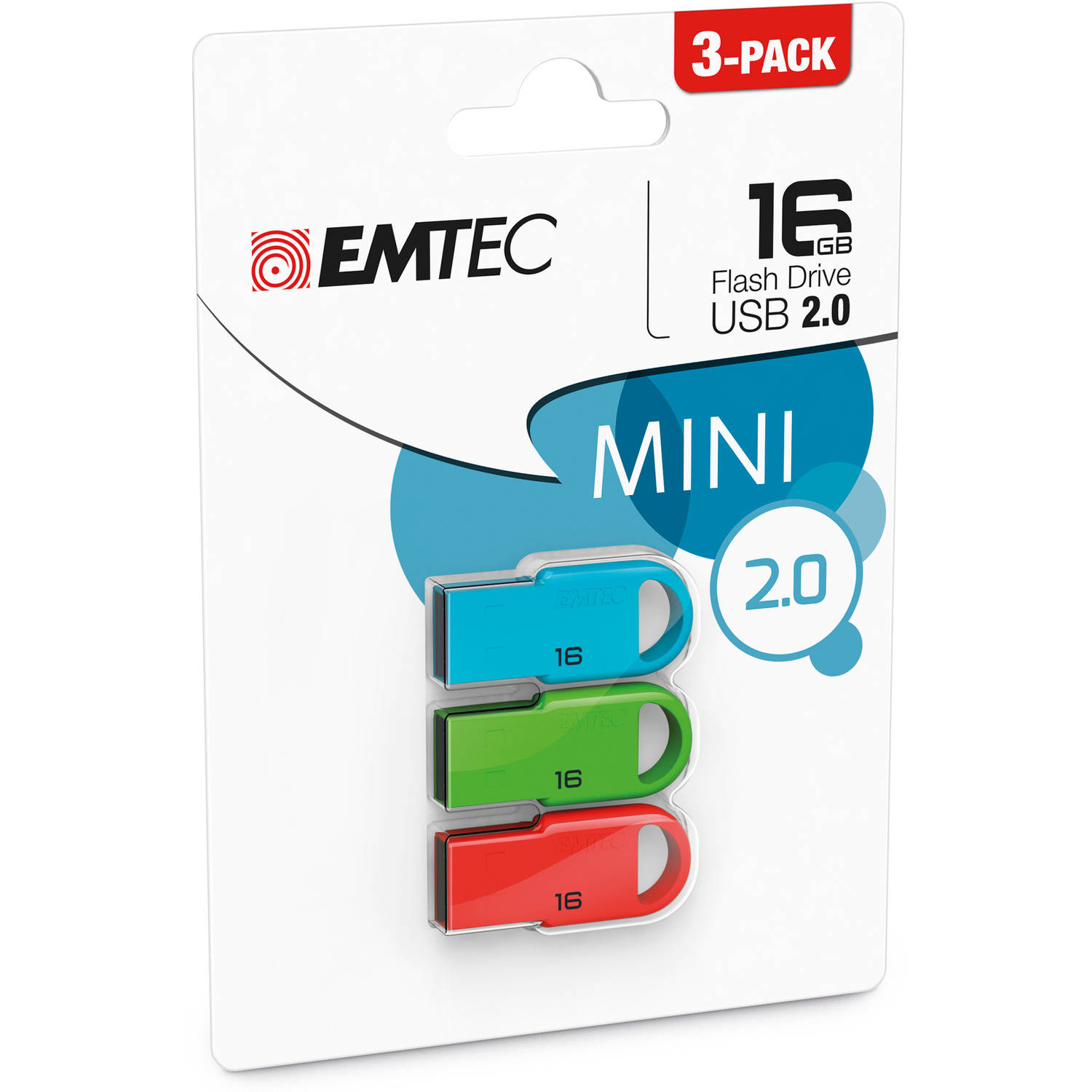 EMTEC 16GB Mini USB 2.0 Flash Drive, 3-Pack
