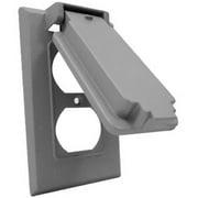 Hubbell Electrical 1C-DV Vertical Duplex Gang Flip Snap Cover, Gray