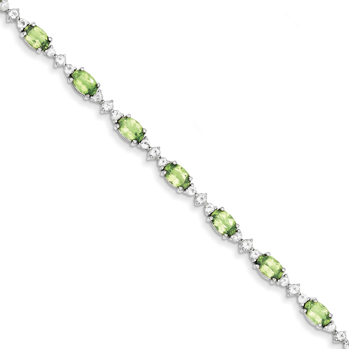 "Ladies and Womens 925 Sterling Silver 4mm Peridot White Topaz Bracelet 7"" by Fusion Collections"