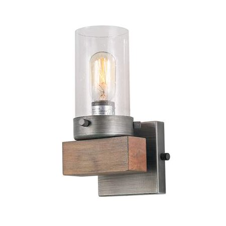LNC 1-Light Indoor Wall Sconces Wood Wall Lamps Aged Silver