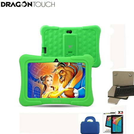 Dragon Touch Green Y88X Plus 7 inch Kids Tablet Quad Core 8G ROM Android 6.0 Tablets With Children Apps + Tablet case + Screen Protector + keyboard for Kid
