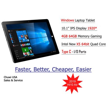 ChuwiUSA HI10 Air Tablet,10.1 inch Intel Cherry Trail X5 Tablet PC,4GB+64GB Windows 10 OS,WiFi,BT4.0,2K Resolution