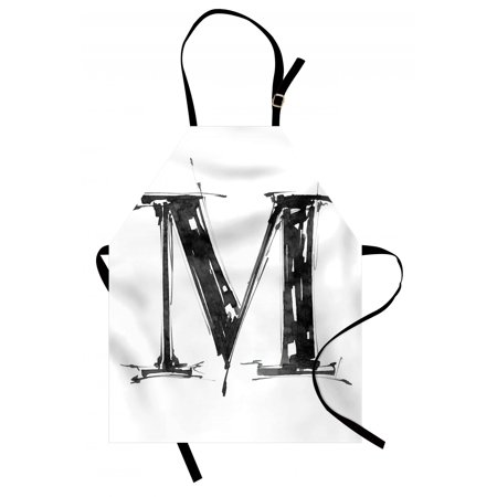 Letter M Apron Alphabet Symbol in Sketchy Stencil Art Style Hand Drawn Effect Funky Calligraphy, Unisex Kitchen Bib Apron with Adjustable Neck for Cooking Baking Gardening, Black White, by - Calligraphy Stencil