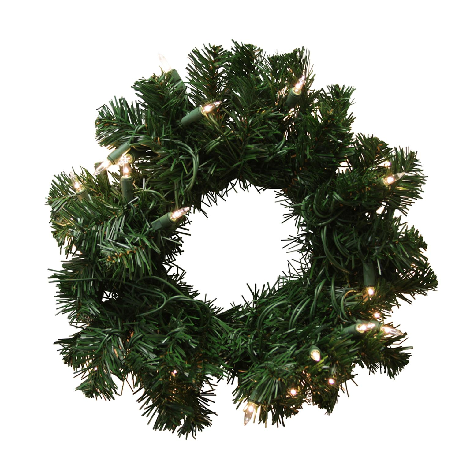 "10"" Pre-Lit Deluxe Windsor Pine Artificial Christmas Wreath - Clear Lights"