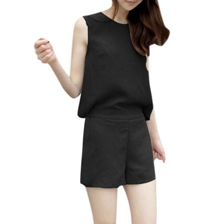 Unique Bargains Women's Zipper Back Elastic Waist Cut Out Design Romper Jumpsuits
