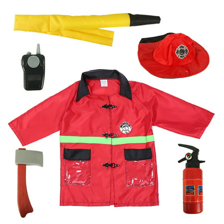 TopTie Child Firefighter Costumes, Fire Chief Role Play Costume Set-Red-S