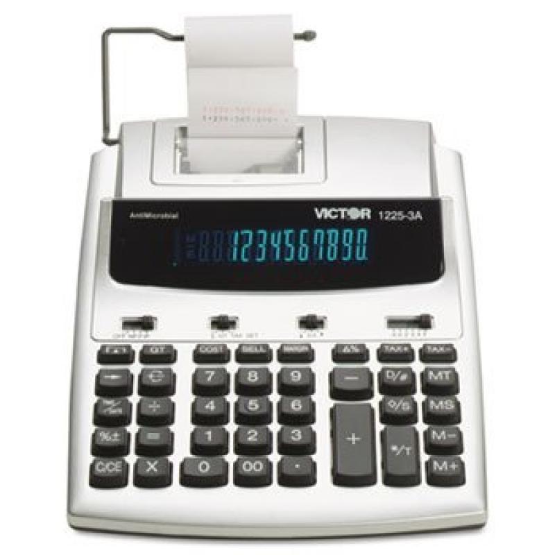 1225-3A Antimicrobial Desktop Calculator, 12-Digit Fluorescent, 2-Color Printing