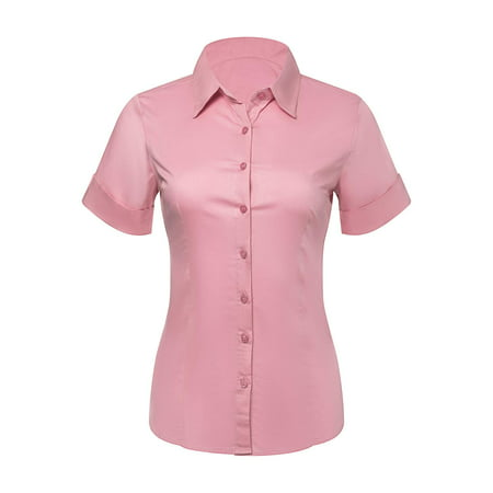 Button Down Shirts for Women, Fitted Short Sleeve Tailored Stretchy Material (XSmall, (Short Hairstyles For Women With Big Ears)