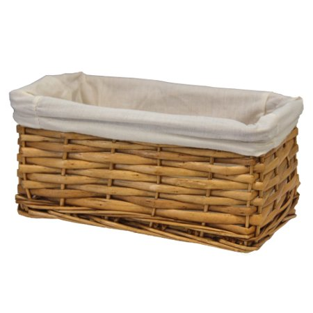 Willow Shelf Basket (Willow Shelf Basket Lined with White Lining, Small )