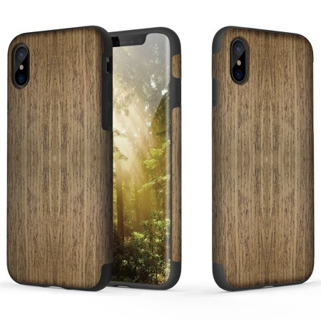 iPhone X Case, ROCK [Grained] - Black Rose [Origin] [Non Slip] [Bulit-in Magnetic Metal Plate] [Wood Tactile] [Natural Wood and TPU Rubber] [Fingerprint Free] Case For Apple iPhone X