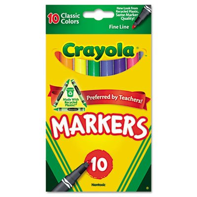 Crayola Classic Fine Line Markers Assorted Colors 10 Count (Pack Of 2)