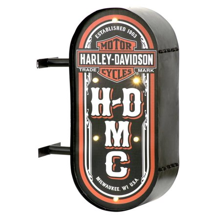 - Harley-Davidson HDMC Marquee Lite-Up Pub Sign, Distressed Steel HDL-15516, Harley Davidson