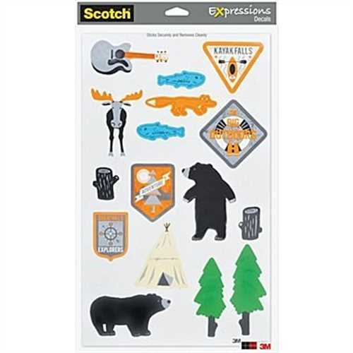 Scotch Expressions Decals, Sheet Size: 8 1/2 x 14, Assorted Decals - Camping, 1 Sheet/Pack