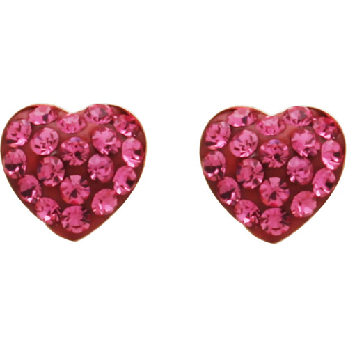 Luminesse 18kt Gold over Sterling Silver Pink Heart Earrings made with Swarovski Elements