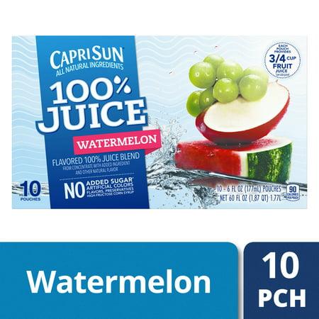 Capri Sun 100% Juice Watermelon, 10 - 6 fl oz Pouches - Halloween Capri Suns