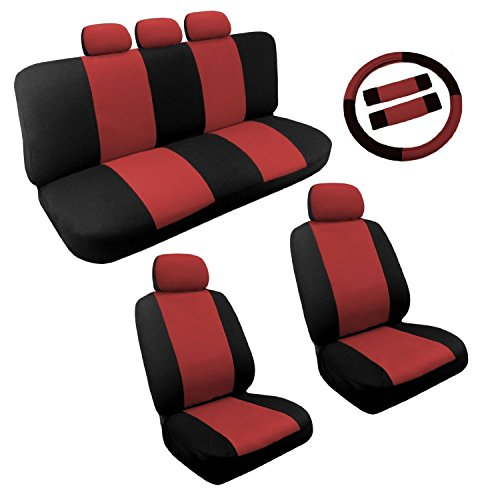 Dual Color Two Tone Car Seat Cover Set 14pc Front & Rear Seats PLUS BONUS: Steering Wheel Cover Set (Black and Red)
