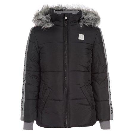 Girl's Faux Fur-Hood Sleeve-Logo Puffer Coat Arizona Denim Jacket
