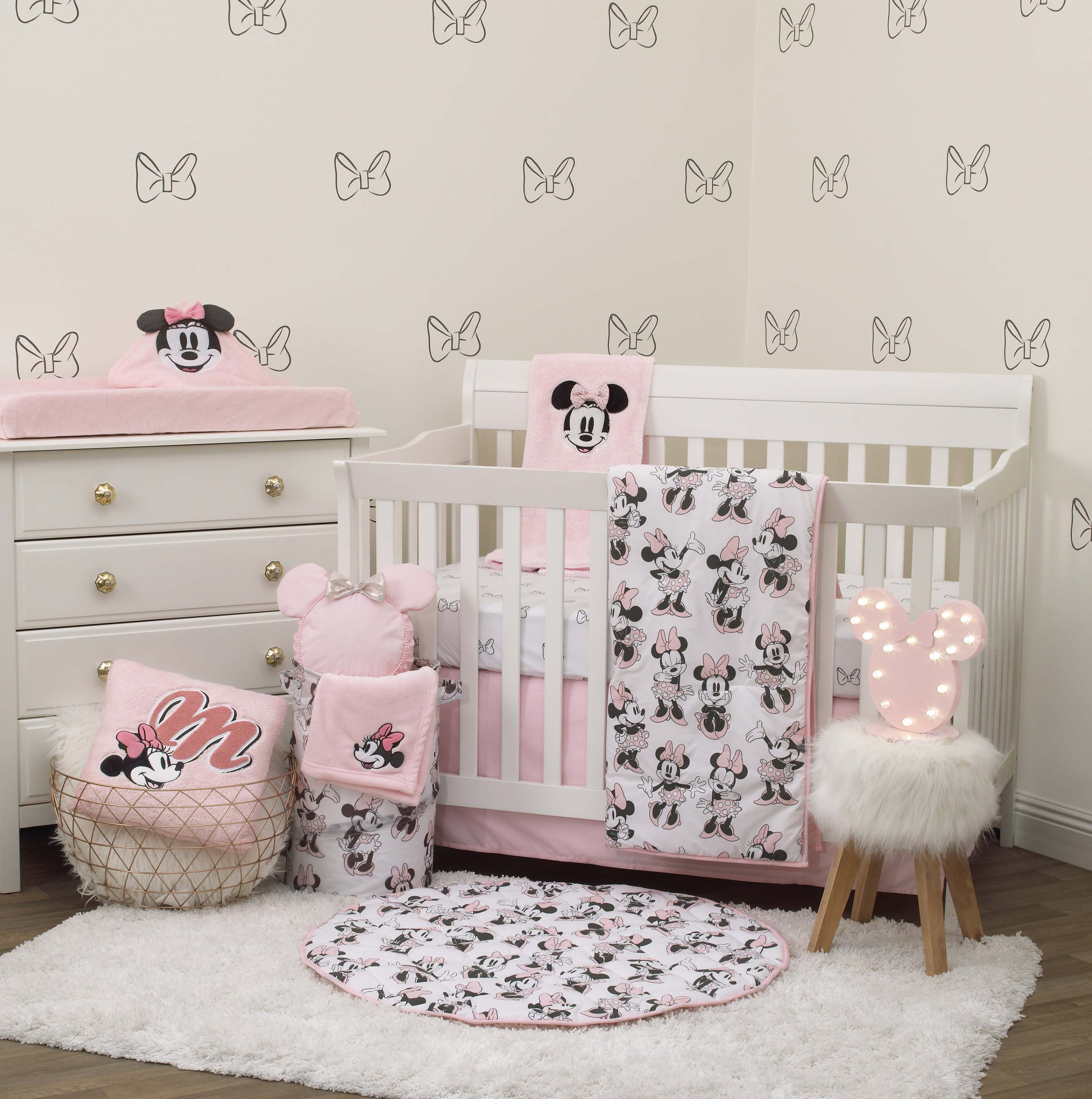 Disney Minnie Mouse 6 Piece Nursery Crib Bedding Set, Comforter, Two 100% Cotton Fitted Crib Sheets, Dust Ruffle, Baby Blanket, Changing Pad Cover, Pink, Grey & White