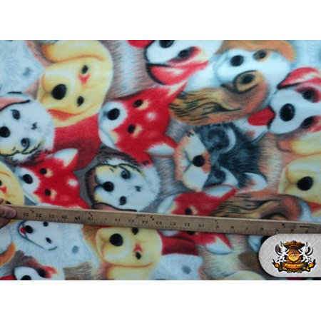 "Fleece Printed Fabric DOG HEAD / 58"" Wide / Sold by the yard FE-N-37"