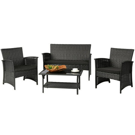 Baner Garden 4-Piece Outdoor Furniture Complete Set with Black Cushions ()