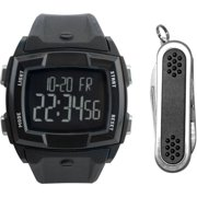 Men's Black Digital Watch Gift Set with Multi-Tool Accessory