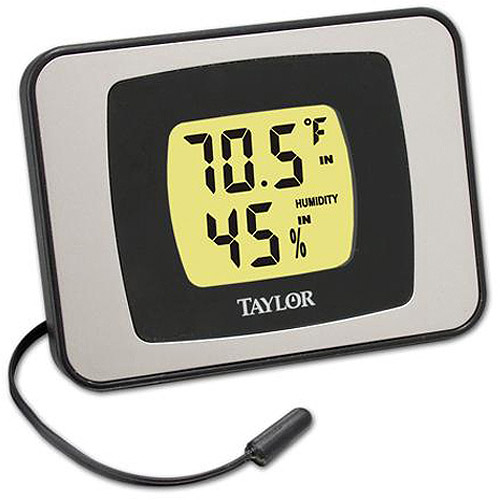 Indoor & Outdoor Thermometer in Black & Silver