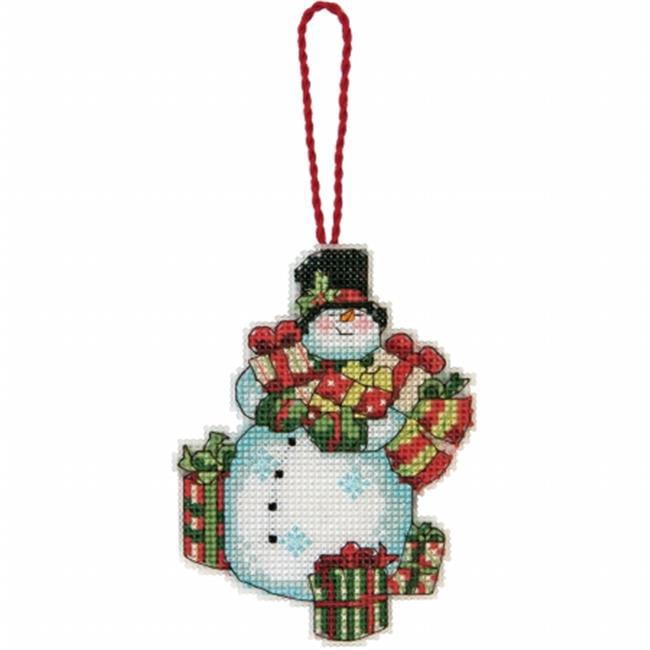 Susan Winget Snowman Ornament Counted Cross Stitch Kit-3-1/4''x4-1/2'' 14 Count Plastic Canvas