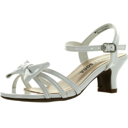 Soda Girls Girly-II Metallic Glitter Open Toe Bow Slingback Small Block Heel Sandals