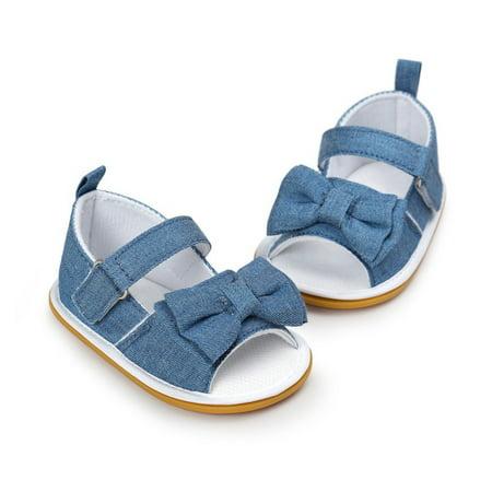 Newborn Baby Girl Bow Non-slip Princess Crib Shoes Summer Sandal Prewalker  Blue 0-6M