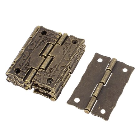 Uxcell Door Jewelry Box Case Engraved Design  Hinge Bronze Tone 37mmx23mm 10pcs