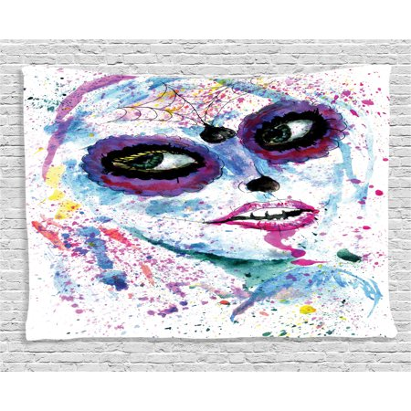 Creepy Bedroom Decor (Girly Decor Tapestry, Grunge Halloween Lady with Sugar Skull Make Up Creepy Dead Face Gothic Print, Wall Hanging for Bedroom Living Room Dorm Decor, 80W X 60L Inches, Blue Purple,)