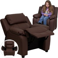 Flash Furniture Deluxe Padded Contemporary Brown LeatherSoft Kids Recliner with Storage Arms