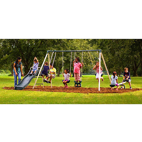 Flexible Flyer Backyard Fun Time Metal Swing Set Walmart Com