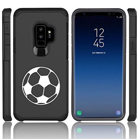 For Samsung Galaxy Shockproof Impact Hard Soft Case Cover Soccer Ball (Black for Samsung Galaxy S9) (Soft Soccer Ball)