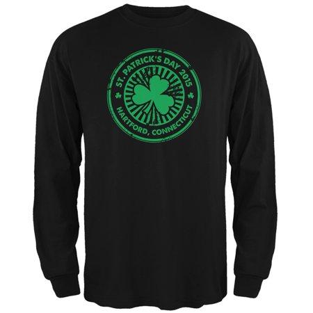 St. Patrick's Day - Hartford CT Black Adult Long Sleeve (Joey Z Shopping Spree West Hartford Ct)