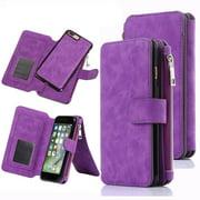 iPhone 7 Plus Case, iPhone 8 Plus Wallet Case, 12 Card Holder, Zipper Cash Change Slot, PU Leather Cover With Detachable Magnetic Hard Phone Case - Purple