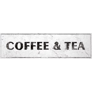 Coffee & Tea Sign Rustic Farmhouse Country Kitchen with Vintage Shabby Chic On 5x18