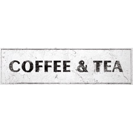 Coffee & Tea Sign Rustic Farmhouse Country Kitchen with Vintage Shabby Chic On 5x18 (On Sign)