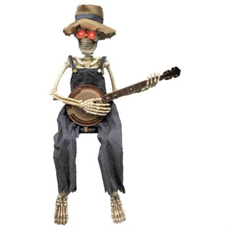 Skeleton Playing Banjo Halloween Accessory (Halloween 111 Cast)