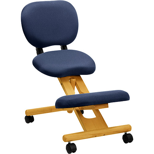 Wooden Ergonomic Kneeling Posture Office Chair with Reclining Back, Blue