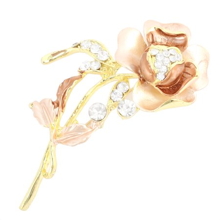 - Unique Bargains Garment Ornament Shiny Rhinestone Decoration Pin Brooch Pink Brown for Ladies