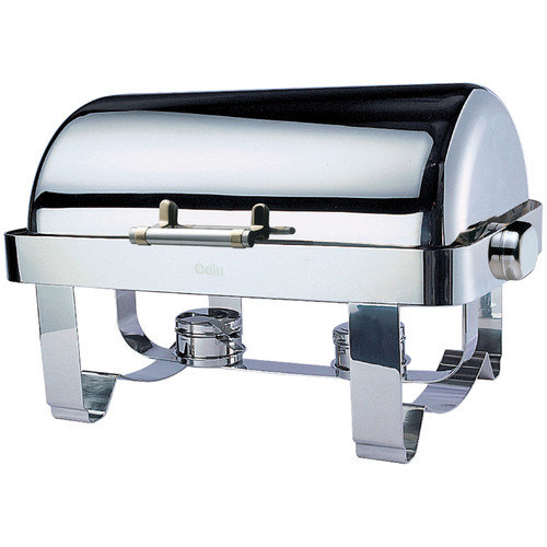 SMART Buffet Ware Odin Oblong Roll Top Chafing Dish with Stainless Steel Legs, Heater and Spoon Holder