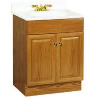 RSI HOME PRODUCTS RICHMOND BATHROOM VANITY CABINET WITH TOP, FULLY ASSEMBLED, 2 DOOR, OAK FINISH, 24