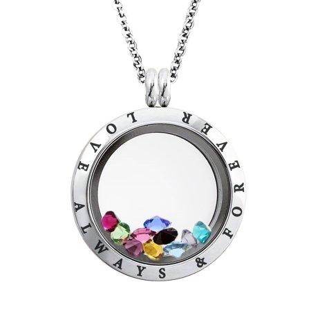 25 MM Stainless Steel Love Always & Forever Engraved Floating Glass Charm Locket Pendant Necklace