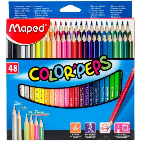 Color'Peps Triangular Colored Pencils 48/Pkg-Assorted - Map Pencils